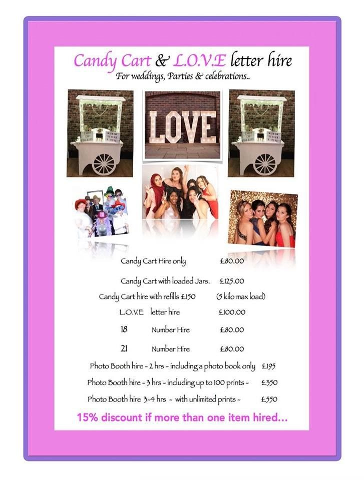 Wedding Accessory Hire Candy Cart Love Letters Photo Booth